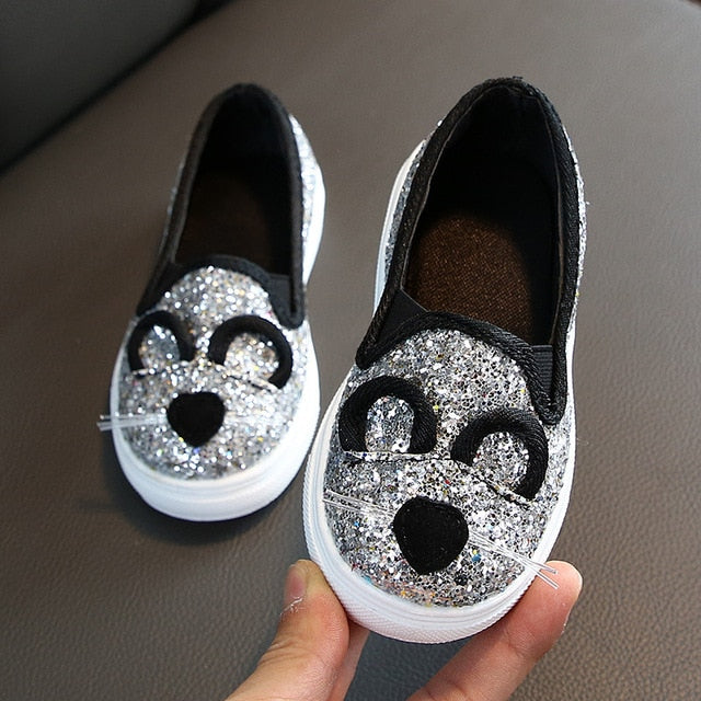 Girl's Sequin Sneakers 2020 Children Girl Low Top Casual Flat Shoes Spring Autumn Slip-on Loafer for Toddler/Little Kid Sneaker
