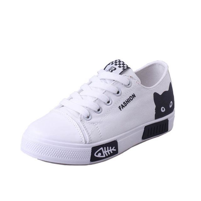 2020 Women Vulcanized Sneakers Breathable Flat Casual White Shoes Cat Woman Spring and Autumn Canvas Shoes White Black