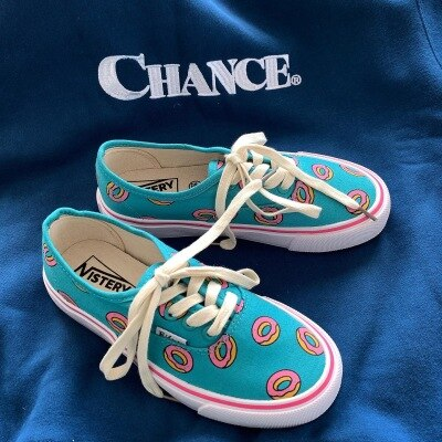 Girl Chic Canvas Shoes Spring Autumn Cartoon Doughnut Cute Sneakers with Donut Print Casual Shoes Trainers 35-40 Low Lace Up