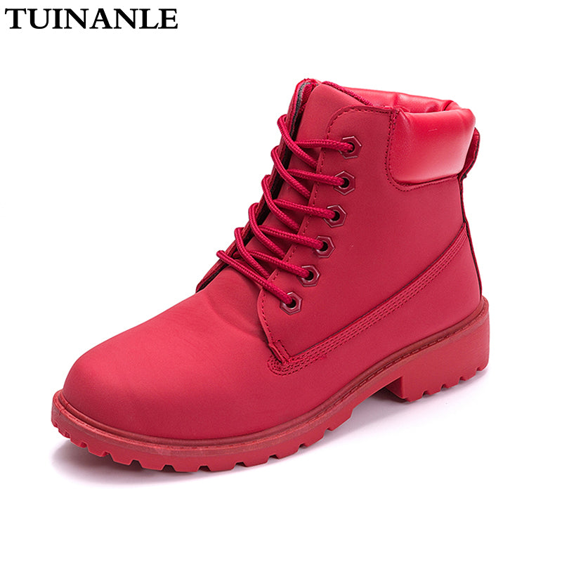 TUINANLE  2020 Autumn Winter Shoes Women Plush Snow Boot Heel Fashion Keep Warm Women's Boots Woman Size 36-42 Ankle Botas Pink