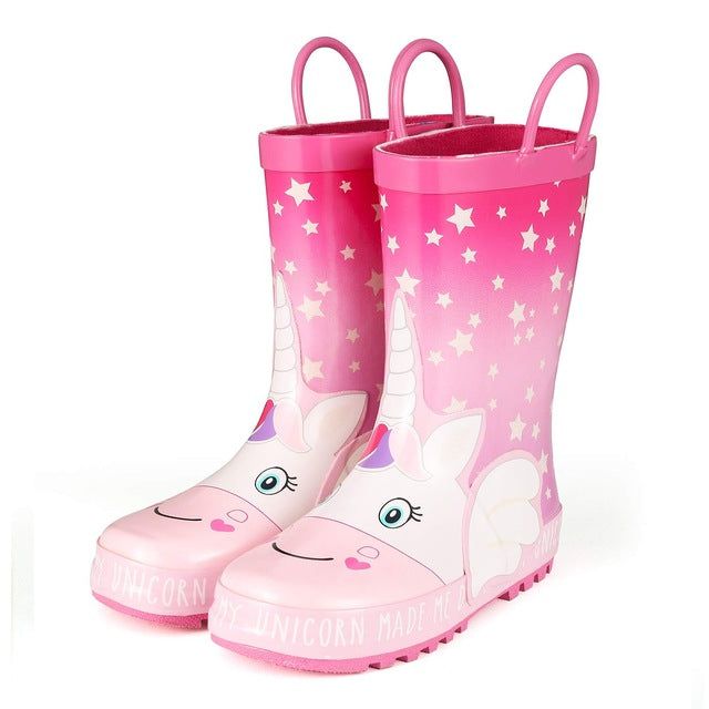 KushyShoo Rain Boots Kids Girl Cute Unicorn Printed Children's Rubber Boots Kalosze Dla Dzieci Waterproof Baby Water Shoes