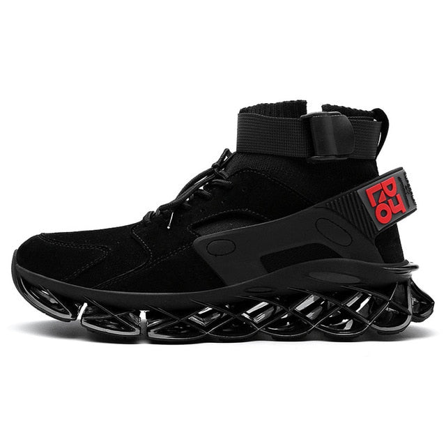 New High Top Blade Series Sports Shoes Cushioning Running Shoes for Men Wearable Sole Professional Athletic Black Jogging Shoes