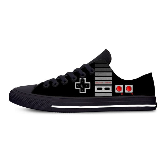 Classic controller video game console gamer Funny Casual Canvas Shoes Low Top Lightweight Breathable 3D Print Men women Sneakers