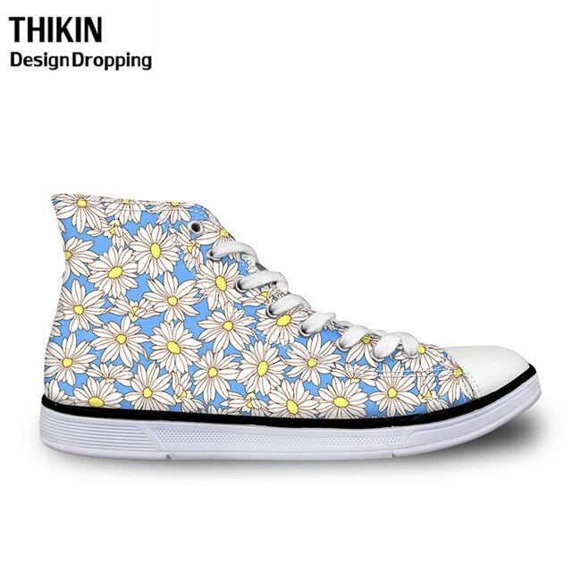 THIKIN Beauty Daisy Printing Shoes Woman Flats Vulcanize Shoes High-top Canvas Shoes Ladies Breathable Sneakers Chalas Mujer