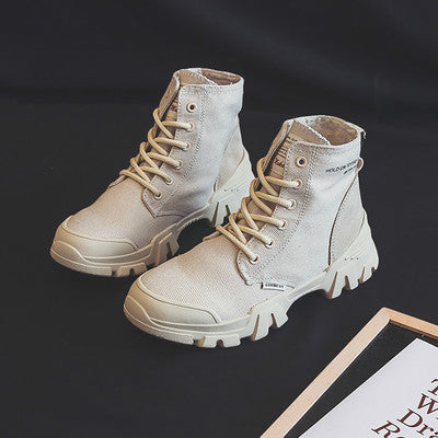 Women Boots Autumn Canvas Outdoor Footwear Khaki Beige Solid Color 2019 New Fashion Boot Nice Quality Thick Sole Anti-slip 35-40