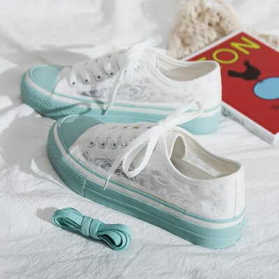 2019 New Summer Girls White Shoes Sweet Lace Female Trendy Shoes Air-permeable Mesh Women Pink Sneakers Casual Shoes Mint Green