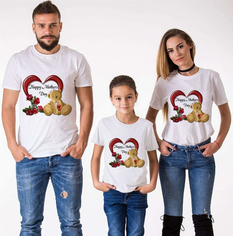 Cartoon print family matching clothes T-shirt mom and me clothes happy mother's day TShirt 2020 mother's day gift Harajuku shirt