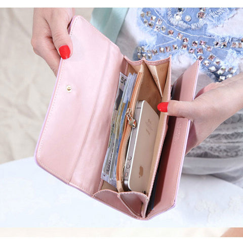New Fashion High Capacity Women Wallets Metal Crown