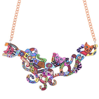 Bonsny Cat Multicolor Necklace