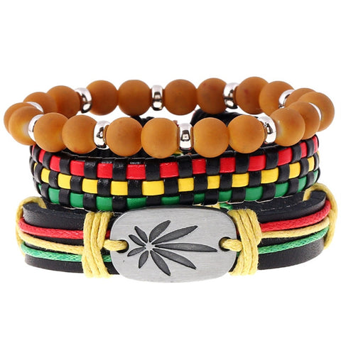 Weed Beaded Women New Brown Vintage Ethnic Casual Handmade Woven Leather Bracelets Men Jewelry Wholesale Accessories
