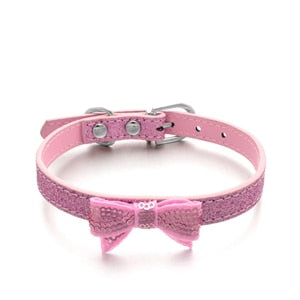 Puppy Cats Collar with cute Bowknot PU Leather Dog Supply Collars Pet