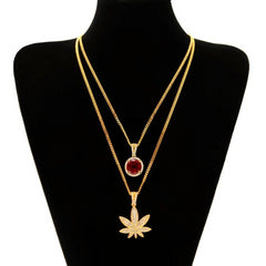 "Gold Color Small Weed Pot Leaf Pendant Necklace And Mini Round Rhinestone Chain Set With 24"" Cuban Chain Hiphop Rapper Jewelry"