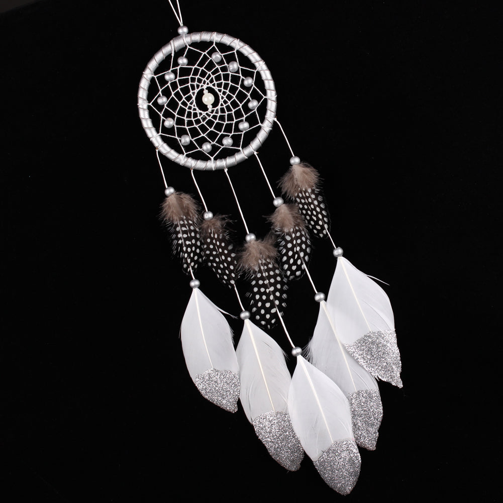 Handmade Silver Bead Dream Catcher Style Car Hanging Decoration
