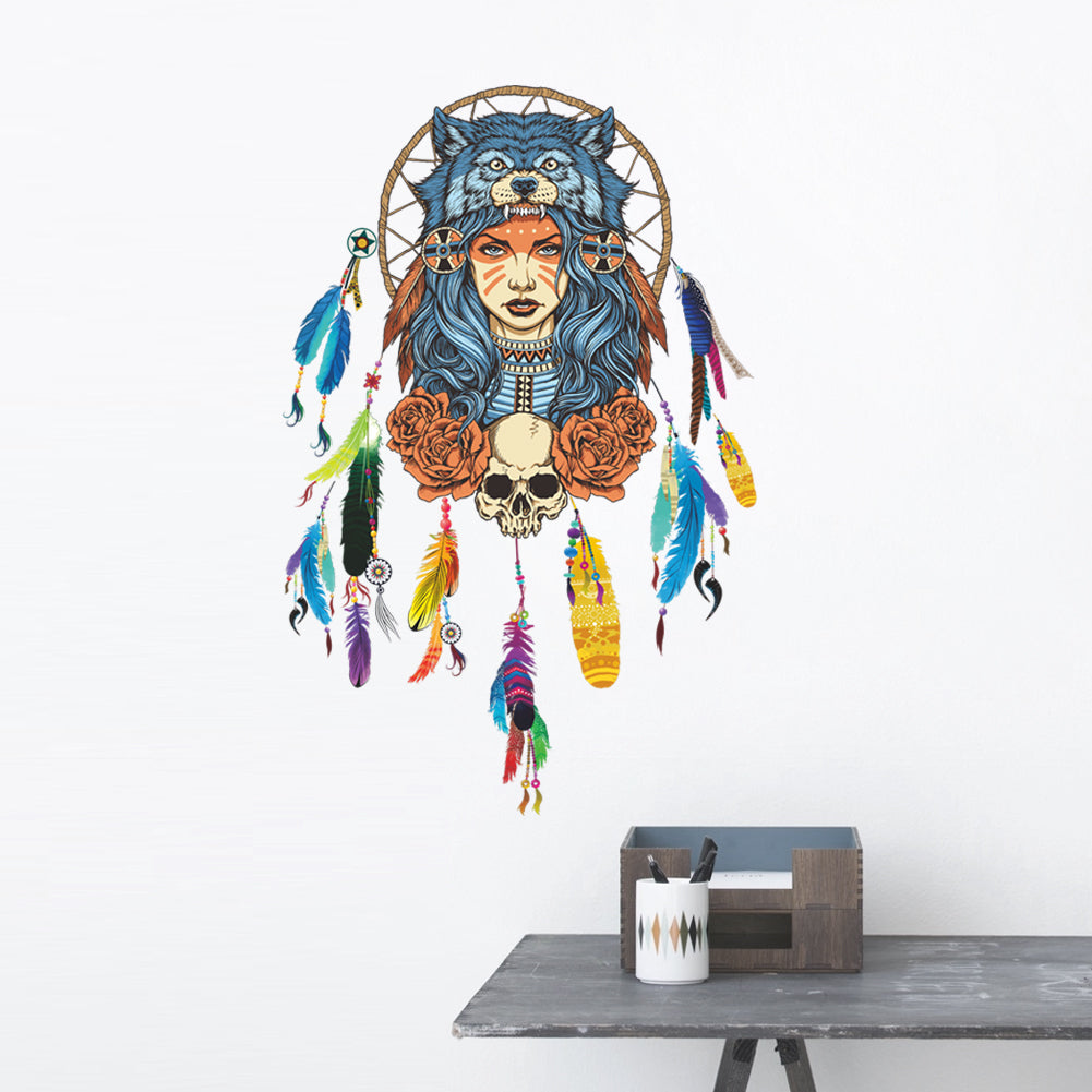 Creative Dream Catcher Feather Wolf Girl Bedroom Decorations Removable Living Room Home Decor Decal Mural Art