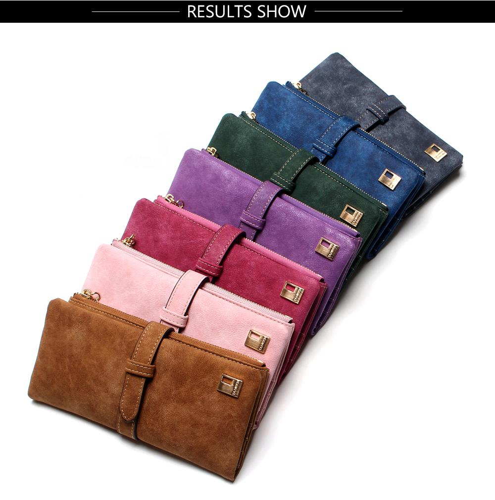 2018 New Fashion Women Wallets Drawstring Nubuck Leather Zipper