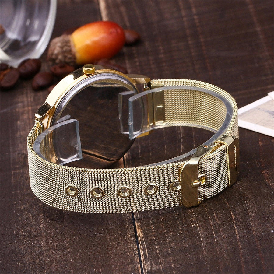 Gold Mesh Band Cat Watch