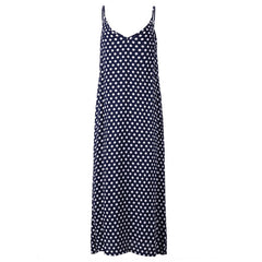 Women Polka Dot Print V Neck Sleeveless Sundress Loose Maxi Long Beach Bohemian Vintage Dress