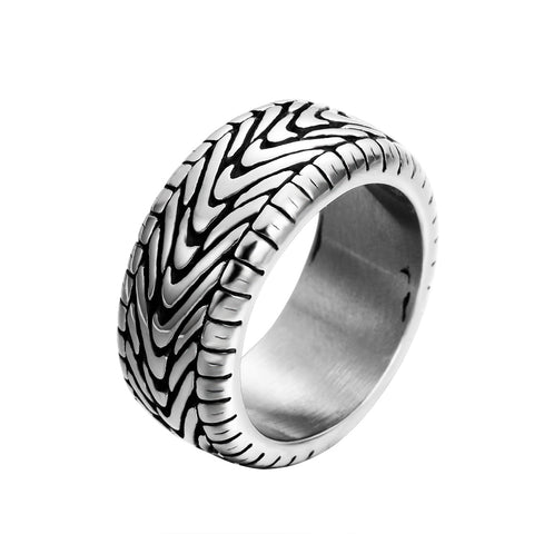 Antique Black Vintage Gothic Punk Large Stainless Steel Biker Rings for Men Carved Tires Ring Women Jewelry