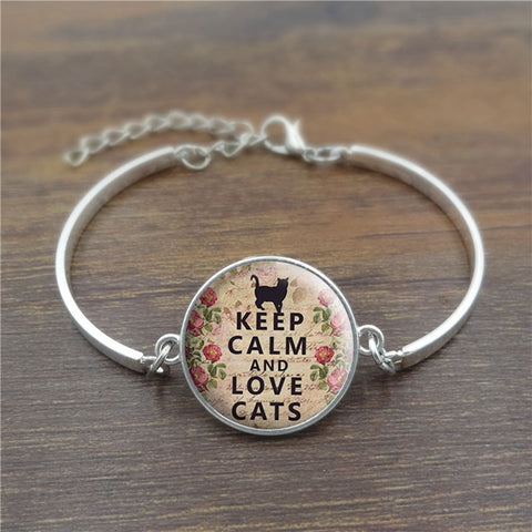 Keep Calm and Lovely Cats Bracelet