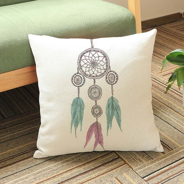 Dream Catchers Cushion Cover Indian Feather Pillow Cases 45X45cm