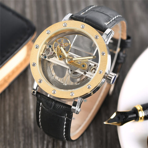 Luxury Hollow Automatic Mechanical Men Fashion Black Leather Wrist Watches