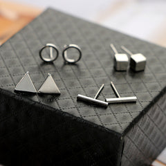 New Arrival Round triangle Shaped Silver Gold Black Color Alloy Stud Earring For Women Ear Jewelry 4 pairs