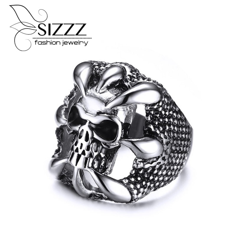 SIZZZ Men's Sliver Stainless Steel Dragon Claw of the Beast Skull Band Rings for Men Vintage Punk Biker Jewelry
