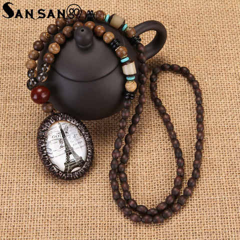 Trendy Ethnic Nepal Wenge Wood Beads Necklaces Natural Stone Gourd Abacus Pendant Long Sweater Necklace For Women Men Jewelry