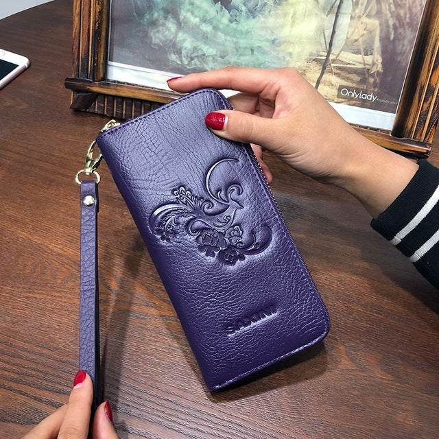 Ladies Embossing Wallet With Genuine Leather Wristlet Card