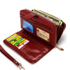 Image of Women Leather Wallet Long Trifold Coin Purse Card