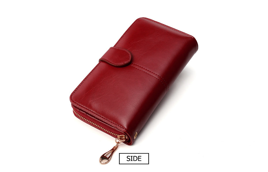 Women Leather Wallet Long Trifold Coin Purse Card