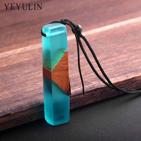 Hot Sell wood resin Square Shaped hand pendant necklace Rope Chain For Men Women jewelry Gift