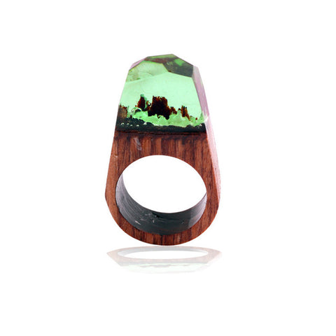 New Arrival Wood Resin Ring Magnificent Tiny Transparent Fantastic Ring for Men Women Handmade Finger Jewelry