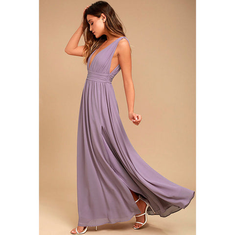 Bohemian Dress Long Elegant Party Slim Sleeveless Beach Dress for Female V-Neck Split Cute Style Dresses