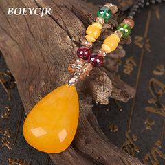 BOEYCJR  PANGA-PANGA Wood Beads Necklace Long Chain Handmade Jewelry Resin Ethnic Vintage Pendant Necklace for Men or Women 2018