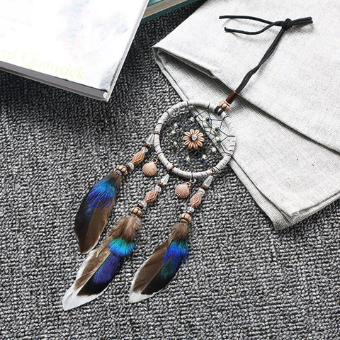 Mini Car Dream Catcher Beaded Natural Feathers Handcraft