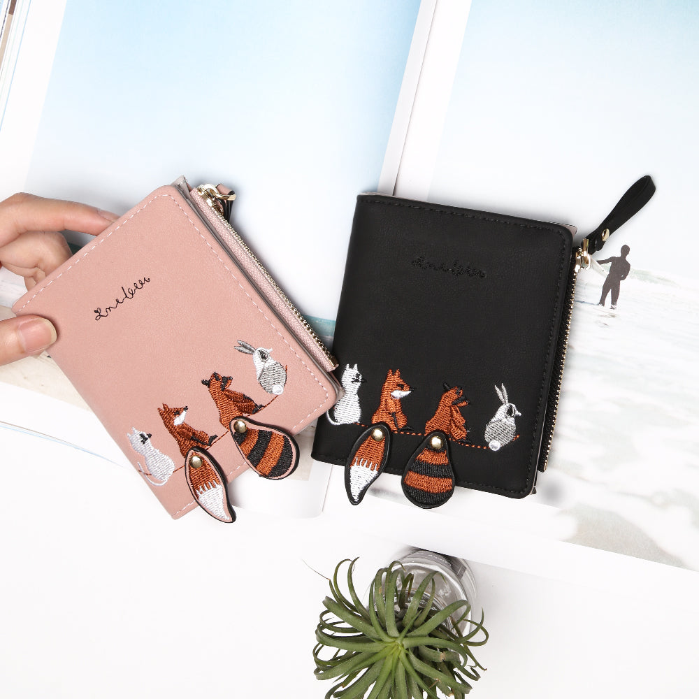 Fashion Women's Wallet Lovely Cartoon Animals Short Leather