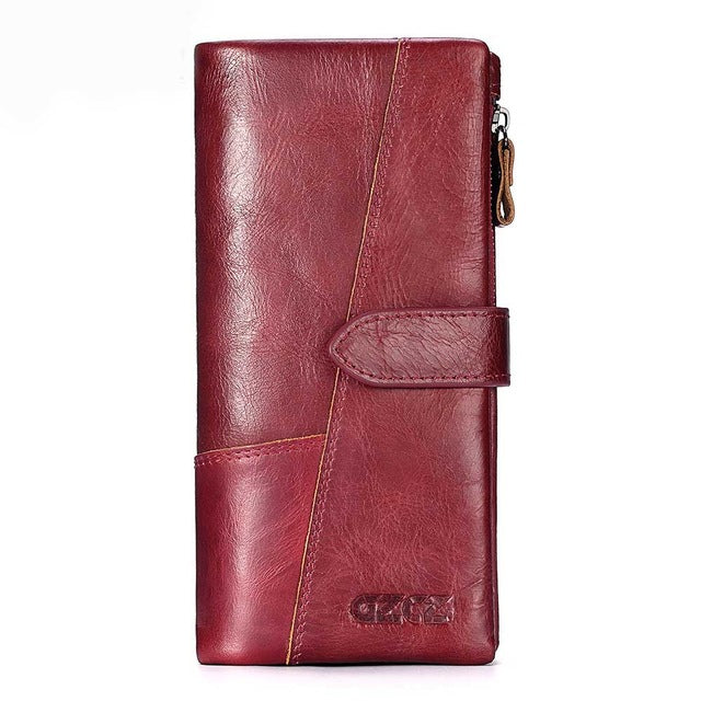 GZCZ Genuine Leather Retro Men Wallets High Quality