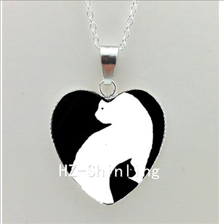 Silhouette Black Cat And Moon Heart Necklace