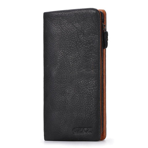 GZCZ Genuine Leather Wallet Men Coin Purse