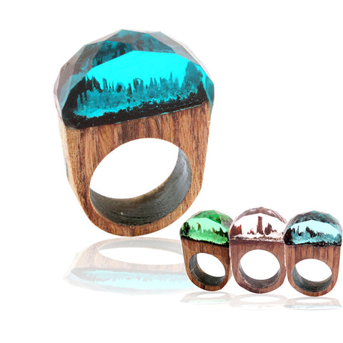 Rings for Women Men Hot Fashion Handmade Wood Resin Ring with Magnificent Tiny Fantasy Secret Landscape Delicate Jewelry Dec6
