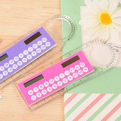 Solar Mini Calculator Magnifier Multifunction 10cm Ultra-thin Ruler Calculadora Office Supplies