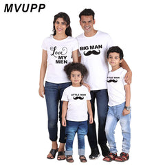 MVUPP family matching outfits t-shirt love big little man daddy mommy and baby son daughter mama family look fathers day gift