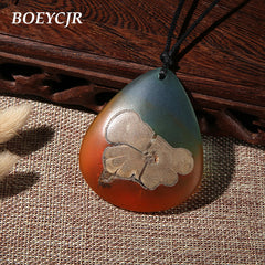 BOEYCJR Wood Resin Water Drop Shape Long Necklace Ethnic Jewelry Vintage Design Handmade Statement Necklace For Women or Men