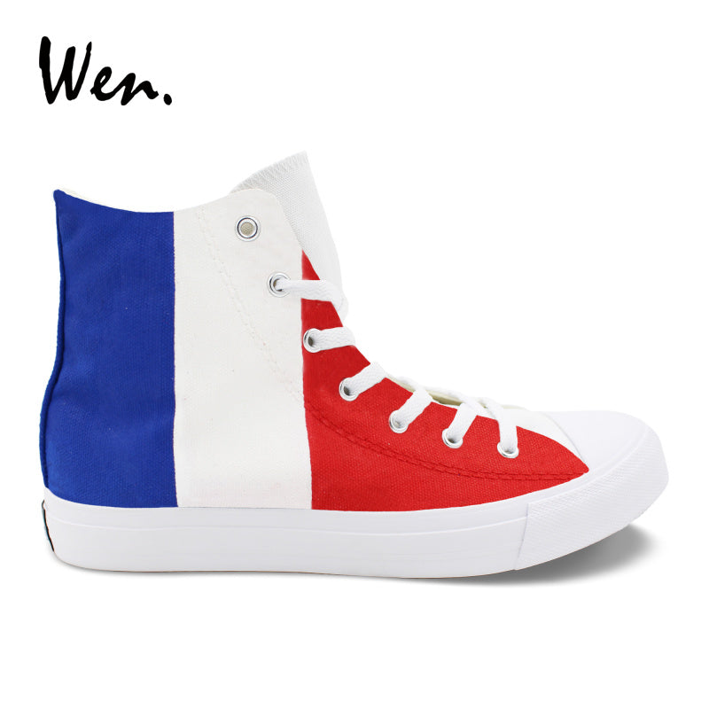 Wen Colored Drawing Vulcanize Shoes France Flag Design Hand Painted Sneakers Blue White Red Stripes Painting Canvas Casual Flat