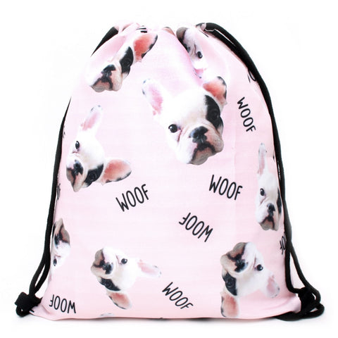 3PCS /set Backpack Animal Printed Cute Pug Dog