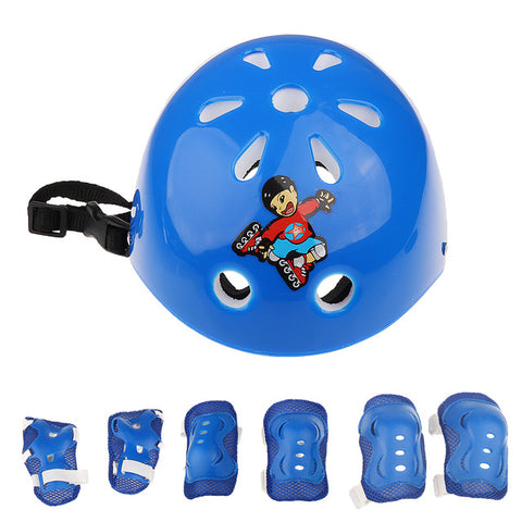 7 Pieces Kids Roller Skating Cycling Helmet Knee Elbow Pad Wrist Guard Gear Sets for Camping Kayaking Boating Surf Protection