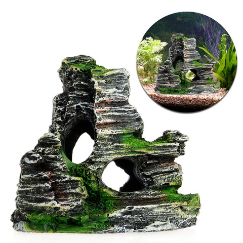 Mountain View Aquarium Decoration Moss Tree House Resin Cave Fish Tank Ornament Decor Landscap Decorative