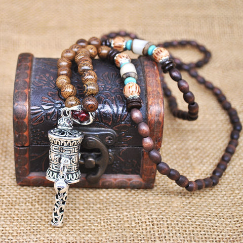 Buddhist Wood Beads Necklace Stone Abacus