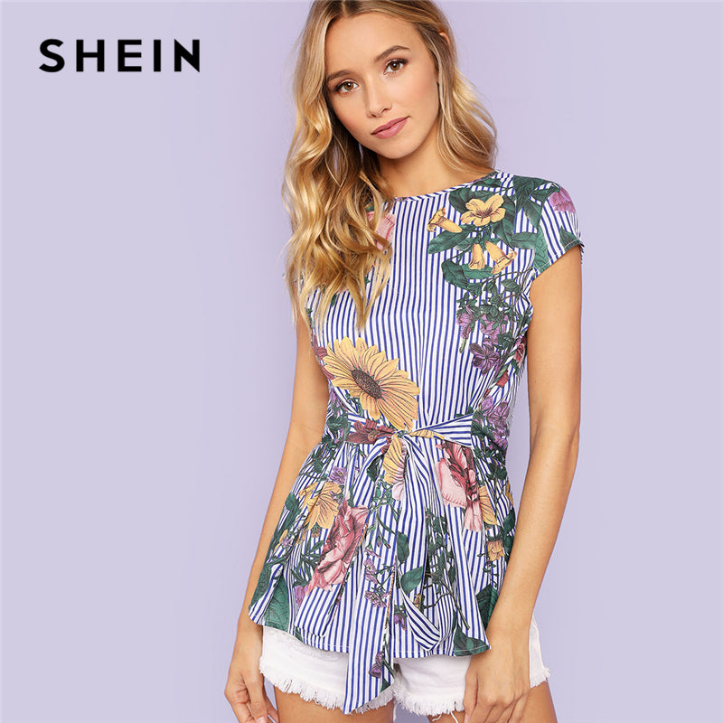 Multicolor Vacation Boho Bohemian Beach Floral And Striped Print Belted Cap Sleeve Blouse Summer Women Going Out Shirt Top